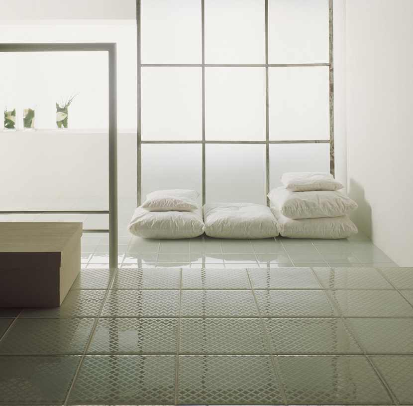 Glass flooring tiles