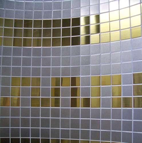 Edelstahl Mosaik, Metallmosaik, Edelstahlmosaik mit Edelmessing Gold, Potsdam, Brandenburg Berlin