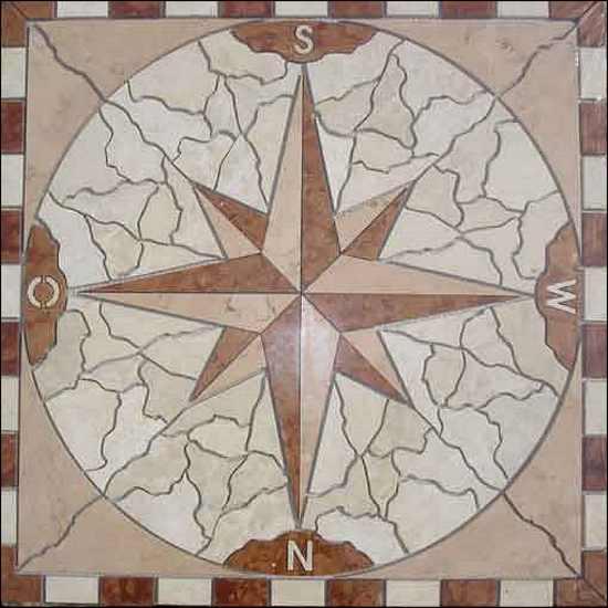 Naturstein Marmor Fliesen Naturstein Rosette, Rosonen, Rosone Fliesenrosette Windrose Berlin, Potsdam, Brandenburg