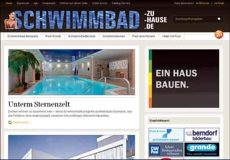Schwimmbad zuhause.de Webseite