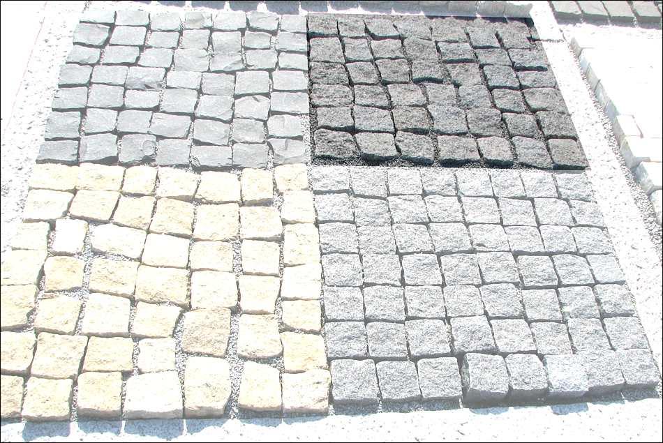 Granitpflaster auf netz